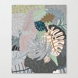 Sun Bleached Army Green Leaves Canvas Print
