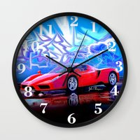 ferrari Wall Clocks featuring Ferrari Enzo by JT Digital Art