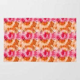 Summer Vibes Tie Dye Spirals Magenta Orange Rug