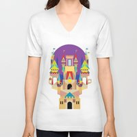 castle V-neck T-shirts featuring castle  by crayon dreamer