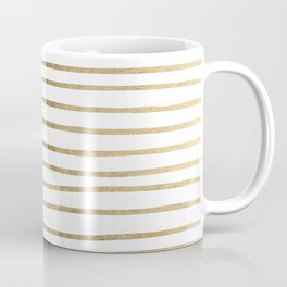 White minimalist faux gold elegant modern stripes Coffee Mug