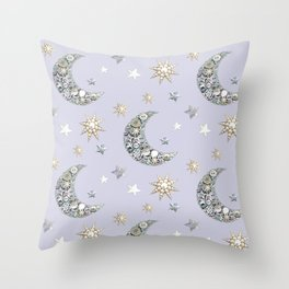 Vintage Button Moon and stars on grey Throw Pillow
