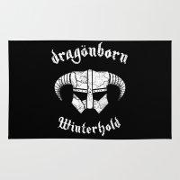 skyrim Area & Throw Rugs featuring Dragonborn Helmet (Winterhold, Dovahkiin, Skyrim) by SOULTHROW