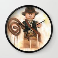 indiana jones Wall Clocks featuring Indiana Jones Lego by Toys 'R' Art