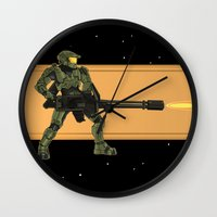 master chief Wall Clocks featuring Master Chief by Arnix