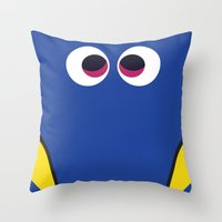 finding nemo Throw Pillows featuring PIXAR CHARACTER POSTER - Dory 2 - Finding Nemo by Marco Calignano