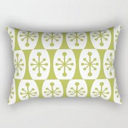 Mid Century Modern Atomic Fusion Pattern Chartreuse Rectangular Pillow