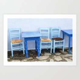 """Travel  & Street Photography """"Blue chairs & tables"""" in Greece, Greek fine art photo print in color.  Art Print"""