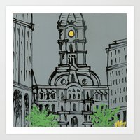Little City Hall Sketch Art Print