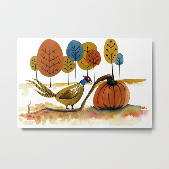 Fall Pheasant Metal Print