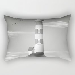 Lighthouse on the rocks Black and white edition. Rectangular Pillow