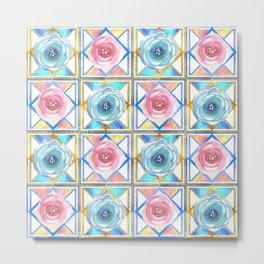 Pretty geometric watercolour floral print Metal Print