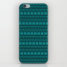 Abstract Pattern Dividers 07 in Turquoise Black iPhone & iPod Skin