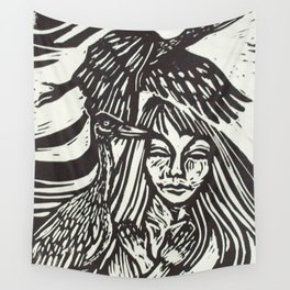 Women with Sandhill Cranes- Woodcut Wall Tapestry