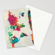 Watercolor World Map Stationery Cards