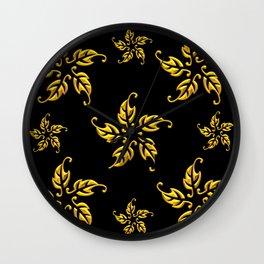 Golden 3-D Look Leaf Rosettes Wall Clock