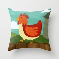 chicken Throw Pillows featuring Chicken  by Claire Lordon