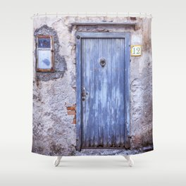 Old Blue Italian Door Shower Curtain