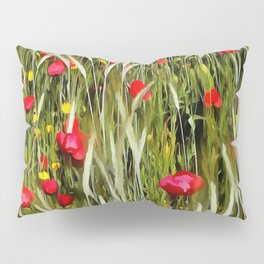 Red Poppies In A Cornfield Pillow Sham