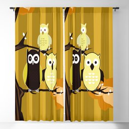 Yellow Owls Blackout Curtain