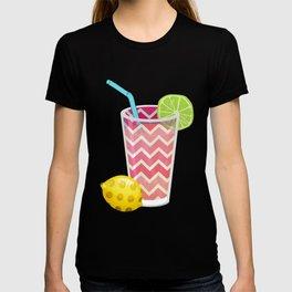 Cute Pink Chevron Lemonade with Lime Slice T-shirt