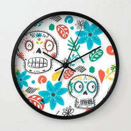 Summer sugar skulls Wall Clock