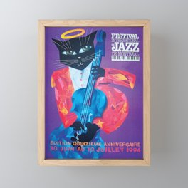1994 Montreal Jazz Festival Cool Cat Poster No. 1 Gig Advertisement Framed Mini Art Print