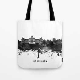 Groningen Black White Named Skyline Tote Bag