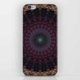 Mandala in dark red and brown tones iPhone Skin