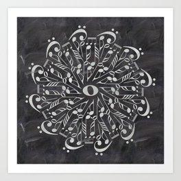 Musical mandala on chalkboard Art Print