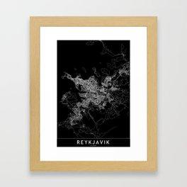 Reykjavik Black Map Framed Art Print