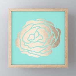 Rose in White Gold Sands on Tropical Sea Blue Framed Mini Art Print