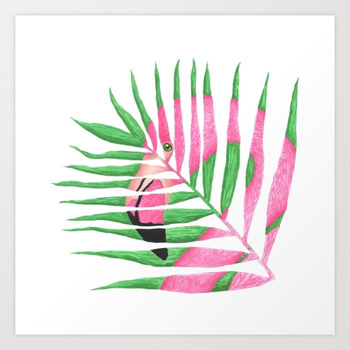 Pink Flamingo Palm Leaf Art Print By Laurenbeach Society6