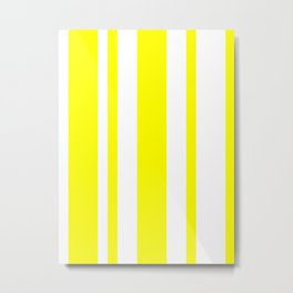Mixed Vertical Stripes - White and Yellow Metal Print