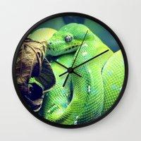 snake Wall Clocks featuring Snake by Yoshigirl