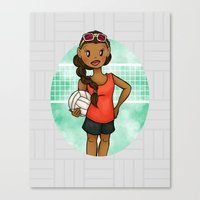volleyball Canvas Prints featuring Volleyball Girl by Everybody Illustrated