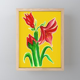 Christmas Amaryllis Flower Watercolor Decor Framed Mini Art Print
