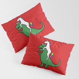 Unicorn Riding T-Rex (Red Background) Pillow Sham