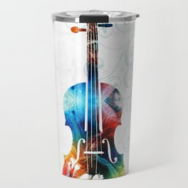 Colorful Violin Art by Sharon Cummings Travel Mug