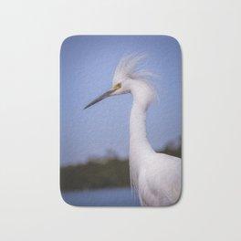 Snowy Egret Portrait Bath Mat