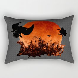 Spooky Halloween Blood Moon Screaming Birds And Spider Rectangular Pillow