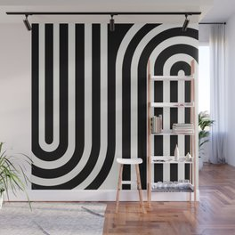 Minimal Line Curvature - Black and White III Wall Mural