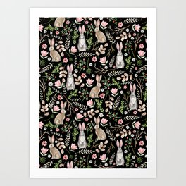 Cute rabbits. Black pattern Art Print