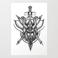 viking Art Prints featuring Viking by Liz Guhl @lizaguhl