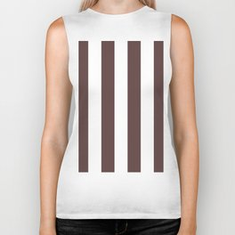 Dark Brown Granite and White Wide Vertical Cabana Tent Stripe Biker Tank
