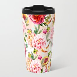 Pattern flowers and tropical fruits Travel Mug