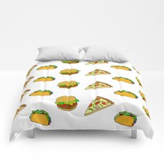 Pizza Taco Burger Pattern Comforters