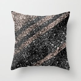 Rose Gold Black Glitter Stripes #1 #shiny #decor #art #society6 Throw Pillow