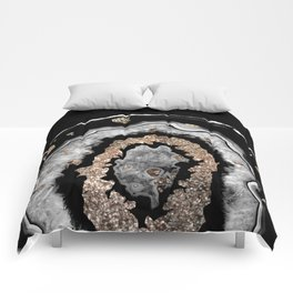 Gray Black White Agate with Gold Glitter on Black #1 #gem #decor #art #society6 Comforters