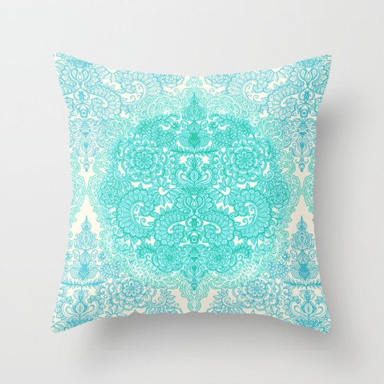 Happy Place Doodle in Mint Green & Aqua Throw Pillow
